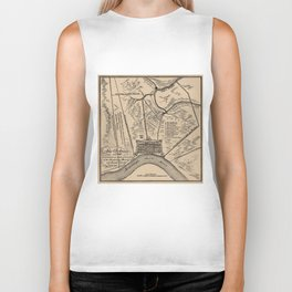 Vintage Map of New Orleans Louisiana (1798) Biker Tank