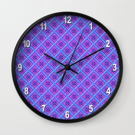 Purple Pillow Puffs Pattern Wall Clock