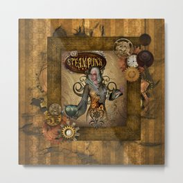 Awesome steampunk women with owl Metal Print