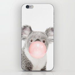 Funny koala with pink bubble gum iPhone Skin