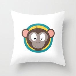 Cute Monkey Head with blue cirlce Throw Pillow