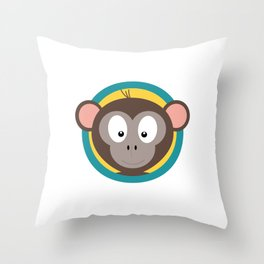 Cute Monkey Head with blue cirlce Throw Pillow