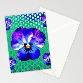 PURPLE PANSIES MODERN BLUE-GREEN ART Stationery Cards