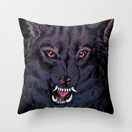 Wolf Howl Sketch Throw Pillow