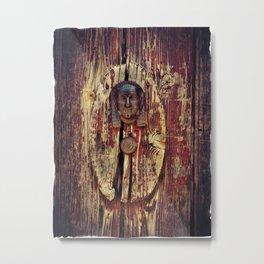 weathered wooden door with agypt door knocker Metal Print