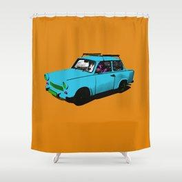 Trabant blue pop Shower Curtain