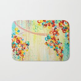 SUMMER IN BLOOM - Beautiful Abstract Acrylic Painting Vibrant Rainbow Floral Nature Theme  Bath Mat