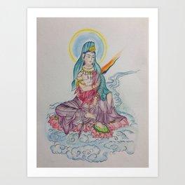 Sidhartha sitting on Lotus (water color) Art Print