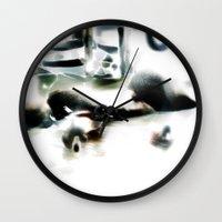 ducks Wall Clocks featuring ducks  by Gréta Thórsdóttir