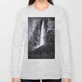 Bridalveil Falls. Yosemite California in Black and White Long Sleeve T-shirt
