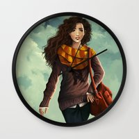 hermione Wall Clocks featuring Hermione Granger by agartaart