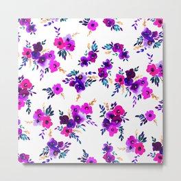 Ava Floral Purple Metal Print