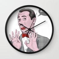 pee wee Wall Clocks featuring Pee Wee Herman #1 by Christian G. Marra