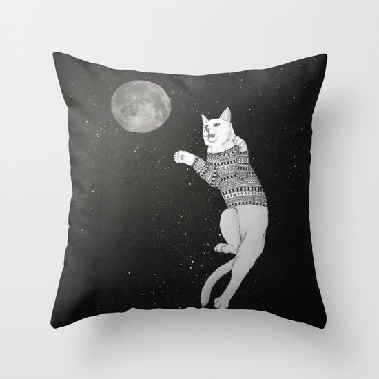 Cat trying to catch the Moon Throw Pillow
