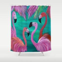 Love My Flamingos Shower Curtain