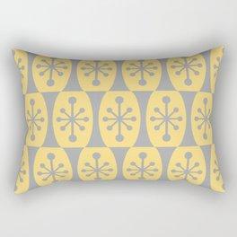 Mid Century Modern Atomic Fusion Pattern 332 Yellow and Gray Rectangular Pillow