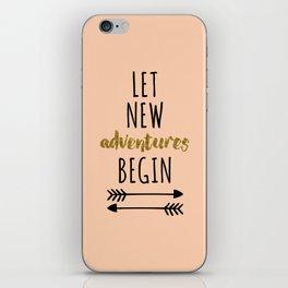 New Adventures Travel Quote iPhone Skin