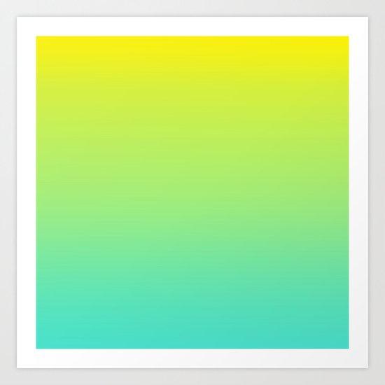 Ombre gradient illustration yellow blue green colors Art Print