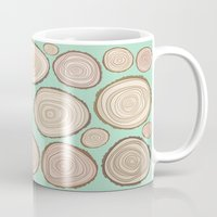 tree rings Mugs featuring Tree Rings by Jackie Sullivan