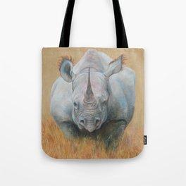 RHINOCEROS African animal Safari style Realistic pastel drawing Tote Bag