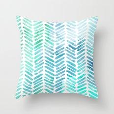 Handpainted Chevron pattern - light green and aqua - stripes #Society6 Throw Pillow