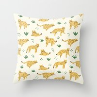 cheetah Throw Pillows featuring Cheetah by Sara Maese