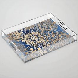 Blue and Gold Mandala Pattern Acrylic Tray