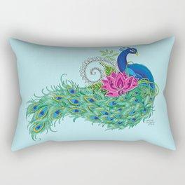 Peacock and Lotus Rectangular Pillow
