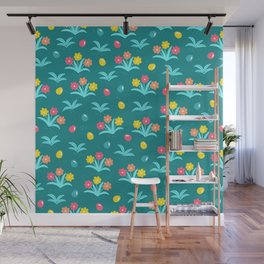 Easter Flower Pattern With Tiny Easter Eggs Wall Mural