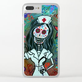 MY FAVORITE NURSE MEXICAN DAY OF THE DEAD PAINTING Clear iPhone Case