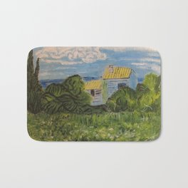 Green Wheat Field With Cypress (inspired by Van Gogh) Bath Mat