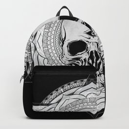 Life Touches The Seeker Ajna Skull Mandala Geometric Triangle Black Backpack