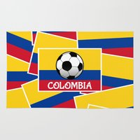 colombia Area & Throw Rugs featuring Colombia Football by mailboxdisco