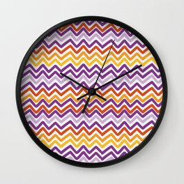 Colorful Hand Drawn Wave Lines Pattern Wall Clock