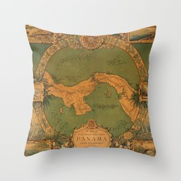 Historical Map of Panama Throw Pillow