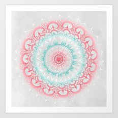 Teal & Coral Glow Medallion Art Print