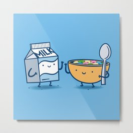 Milk and Cereal Metal Print