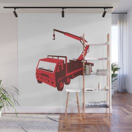 truck mounted crane cartage hoist retro Wall Mural