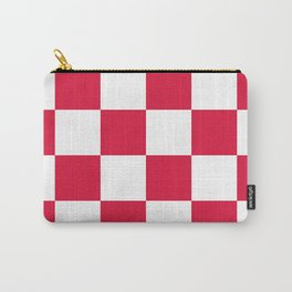 Large Checkered - White and Crimson Red Carry-All Pouch