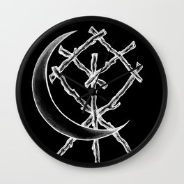 Crescent Moon Rune Binding at Midnight Wall Clock