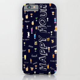 Happy Hour Cocktails and Brews on Dark Blue iPhone Case