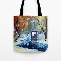 fandom Tote Bags featuring Starry Winter blue phone box Digital Art iPhone 4 4s 5 5c 6, pillow case, mugs and tshirt by Three Second