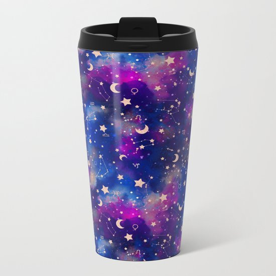 Zodiac - Watercolor Dark Metal Travel Mug