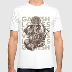 Ganesh White MEDIUM Mens Fitted Tee