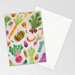 watercolor veggie market Stationery Cards