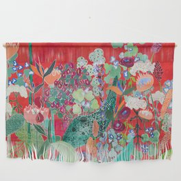 Red floral Jungle Garden Botanical featuring Proteas, Reeds, Eucalyptus, Ferns and Birds of Paradise Wall Hanging