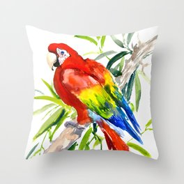 Scarlet Macaw, jungle tropical home decor bright colored parrot foliage Throw Pillow