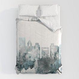 Pittsburgh Monochrome Blue Skyline Comforters