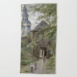 Mulln Monastery in Augustiner Braustubl (Salzburg) by Edward Theodore Compton Beach Towel