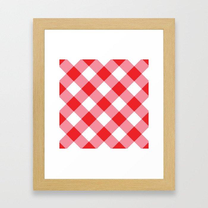Gingham - Red Framed Art Print